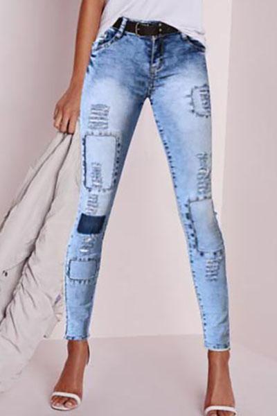 Stylish Mid Waist Elasticity Broken Holes Design Blue Cotton Skinny Pants<br>