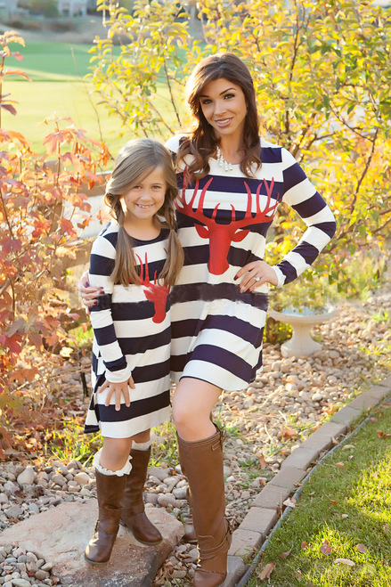 Casual O Neck Long Sleeves Deer Head Printing Blue Striped Cotton Blend Mini Dress?(Only Childrens) ?<br>