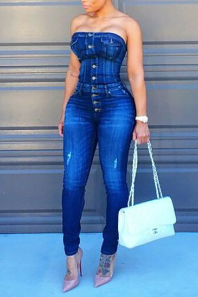 Trendy Strapless Single-breasted Design Blue Cotton Blends One-piece Skinny Jumpsuits<br>