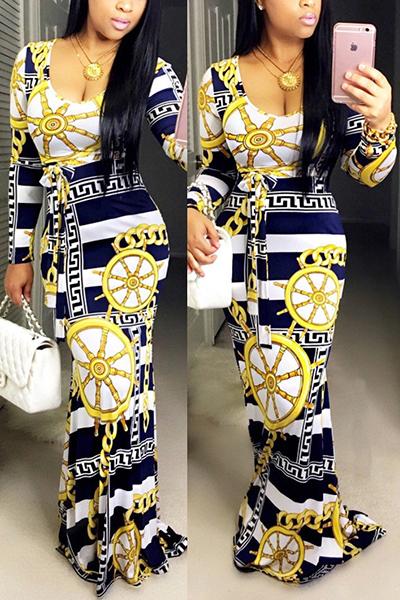 Trendy Boat Neck Long Sleeves Digital Printing Qmilch Floor length Dress Dresses <br><br>
