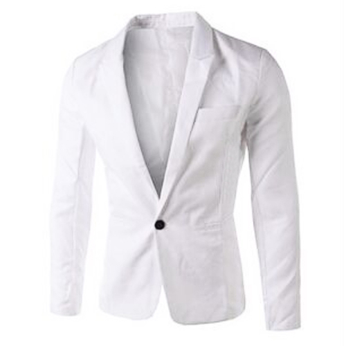 Stylish Turndown Collar Long Sleeves Single Button Design White Cotton Blends Business Suit<br>