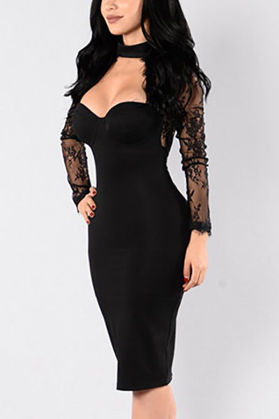 Healthy Fabric Sexy V Neck Long Sleeve Sheath Knee Length Dresses Dresses <br><br>