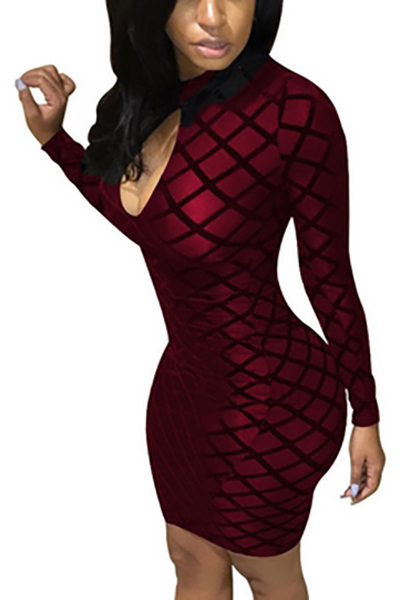 Polyester Sexy Mandarin Collar Long Sleeve Sheath Mini Dresses Dresses <br><br>