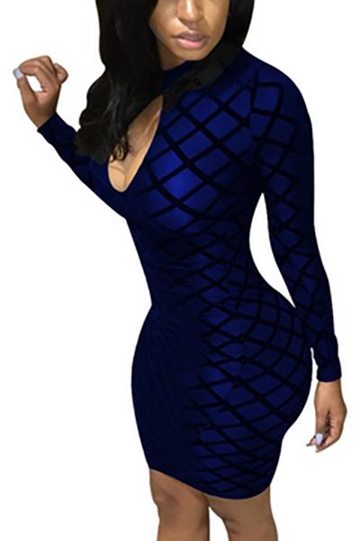 Polyester Sexy Mandarin Collar Long Sleeve Sheath Mini Dresses Dresses <br><br>