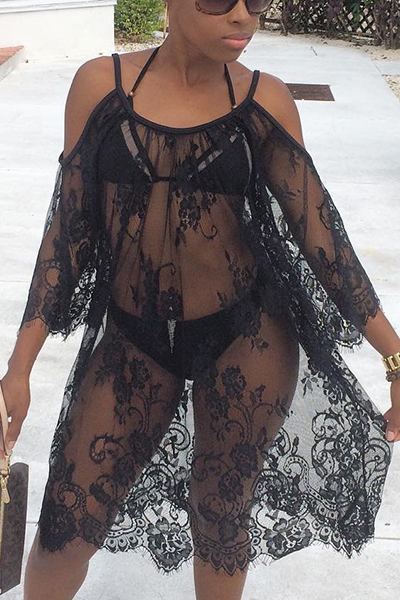 Lace Solid Cover-Ups<br>