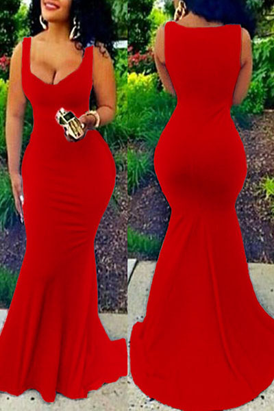 Euramerican U-shaped Neck Sleeveless Red Cotton Blend Sheath Floor Length Dress Dresses <br><br>