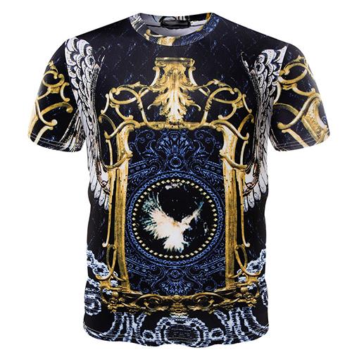 Euramerican Round Neck Short Sleeves Printed Cotton T-shirt<br>