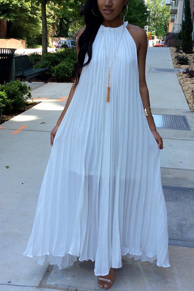 Stylish Round Neck Dew Shoulder Sleeveless White Chiffon Floor Length Dress(Without Accessories) Dresses <br><br>