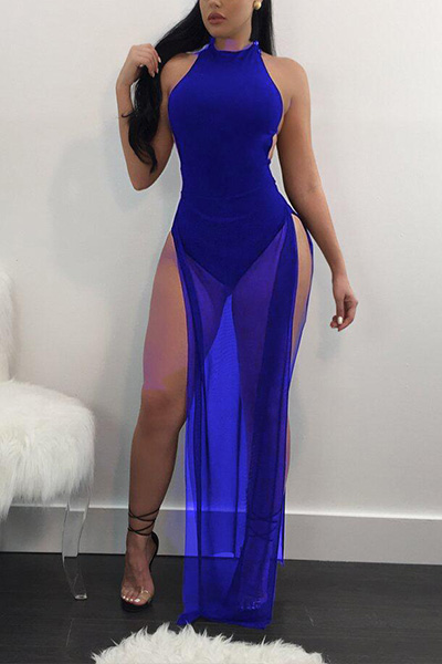 Sexy See-Through Blue Twilled Ankle Length Dress Dresses <br><br>