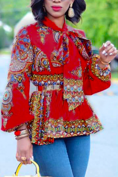 Ethnic Style Mandarin Collar Long Sleeves Totem Printed Red Milk Fiber Shirts<br>