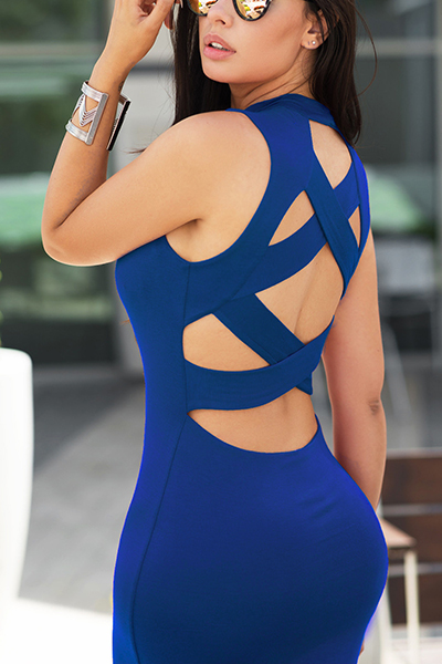 Sexy Hollow-out Dark Blue Cotton Sheath Knee Length Dress Dresses <br><br>
