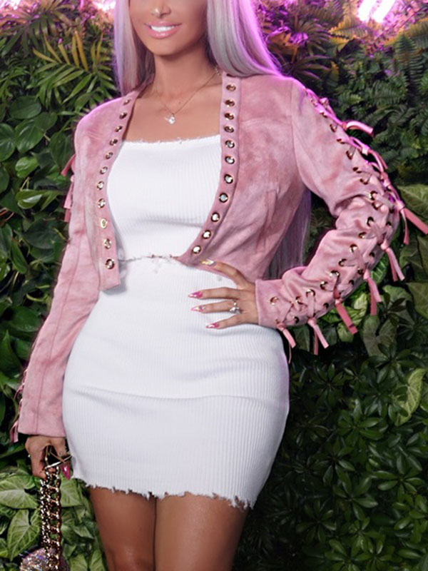 Cotton Blends  Long Sleeve  Short Coat&amp;Jacket<br>