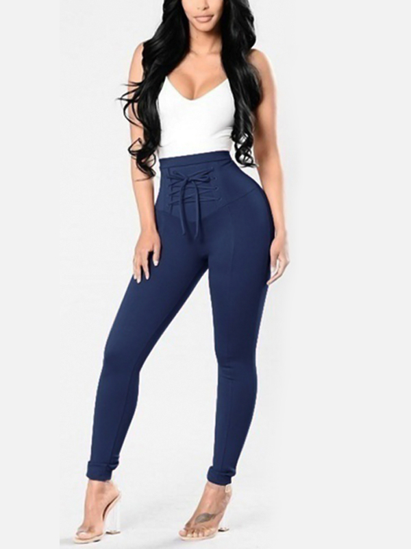 Euramerican High Waist Lace-up Blue Polyester Pants<br>