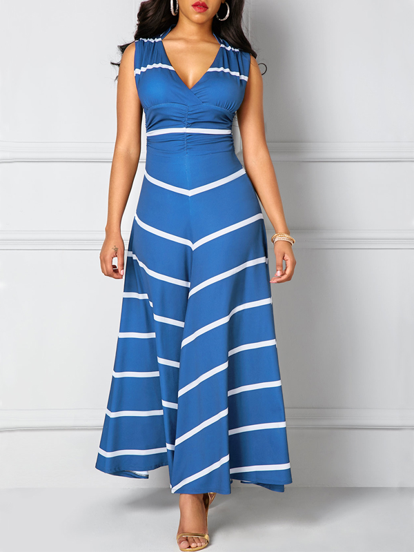 Leisure  V Neck Sleeveless Striped Blue Polyester Ankle Length Dress Dresses <br><br>