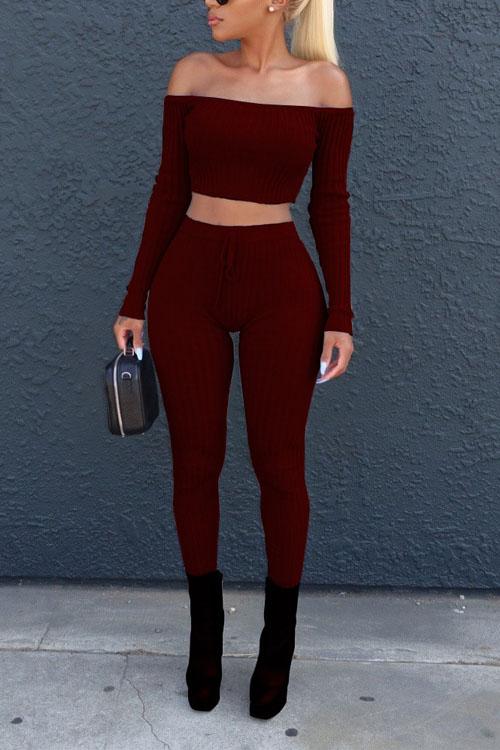Euramerican Dew Shoulder Wine Red Cotton Two-piece Pants Set<br>