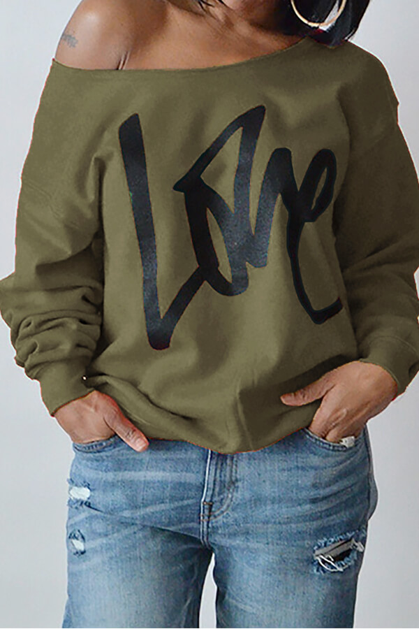 Leisure Round Neck Long Sleeves Letters Printing Army Green Cotton Pullover<br>