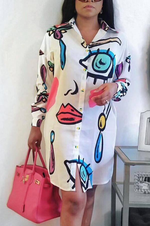 Trendy Turndown Collar Printed White Polyester Knee Length Dress Dresses <br><br>