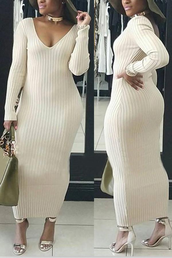 Stylish V Neck White Cotton Blend Sheath Mid Calf Dress Dresses <br><br>