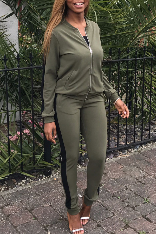 Leisure Round Neck Zipper Design Green Blending Two-piece Pants Set<br>
