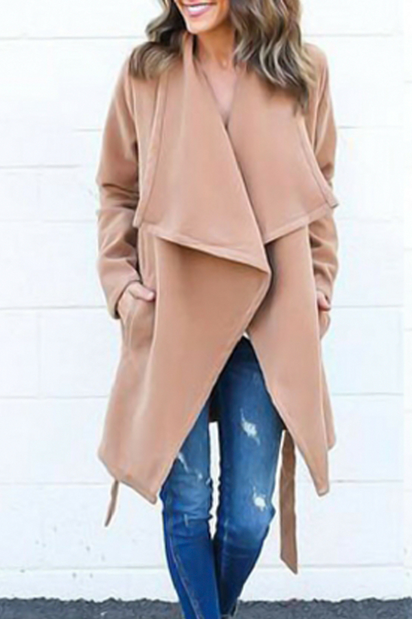 Trendy Turndown Collar Lace-up Light Tan Wool Coat<br>