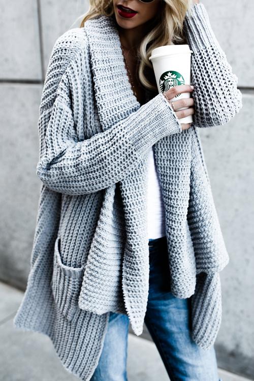 Trendy Long Sleeves Grey  Acrylic Cardigans<br>