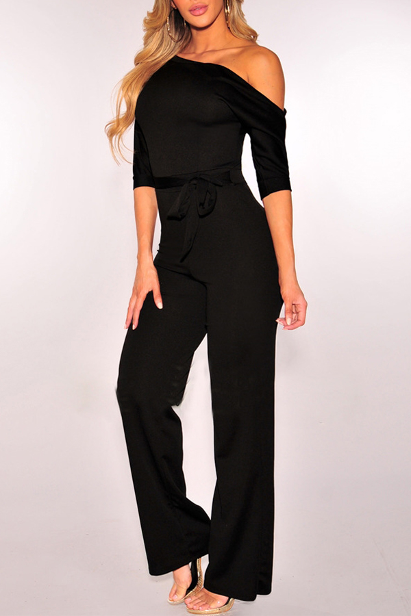 Euramerican Dew Shoulder Black Polyester One-piece Jumpsuits<br>