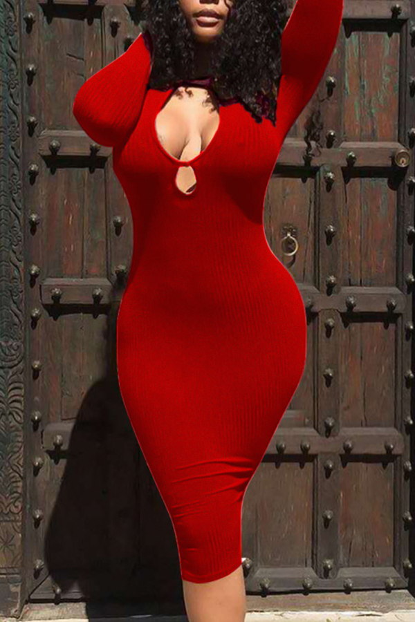 Sexy Round Neck Hollow-out Red Polyester Sheath Knee Length Dress Dresses <br><br>