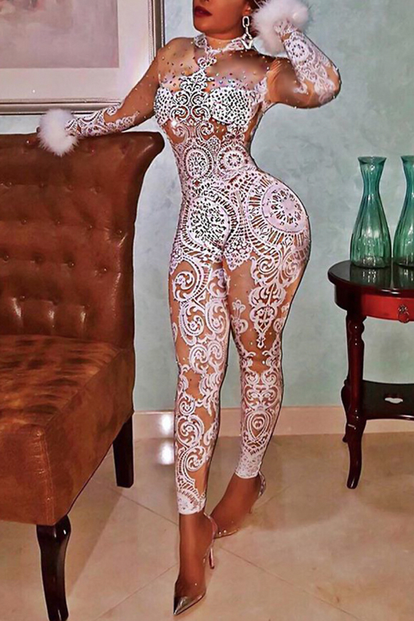 Euramerican Mandarin Collar Printed Polyester One-piece Jumpsuits?Kind Prevail?<br>