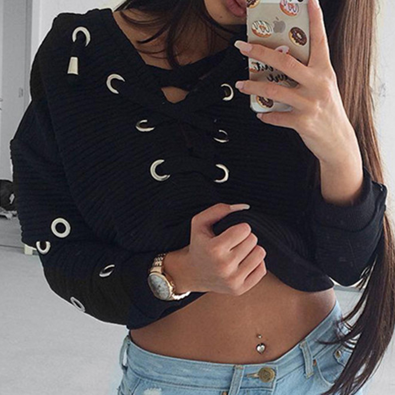 Fashionable V Neck Lace-up Hollow-out Black Polyester Hoodies<br>