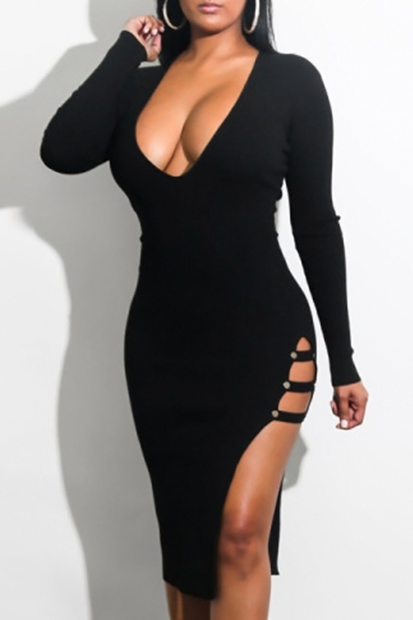 Sexy V Neck  Side Slit Hollow-out Black Milk Fiber Mid Calf Dress Dresses <br><br>