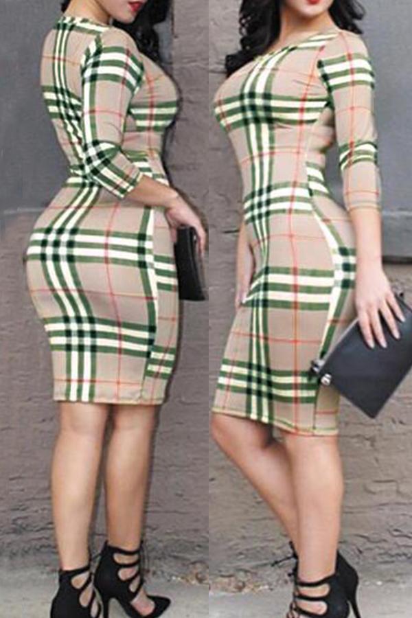 Sexy Round Neck Grid Printed Green Milk Fiber Sheath Knee Length Dress Dresses <br><br>