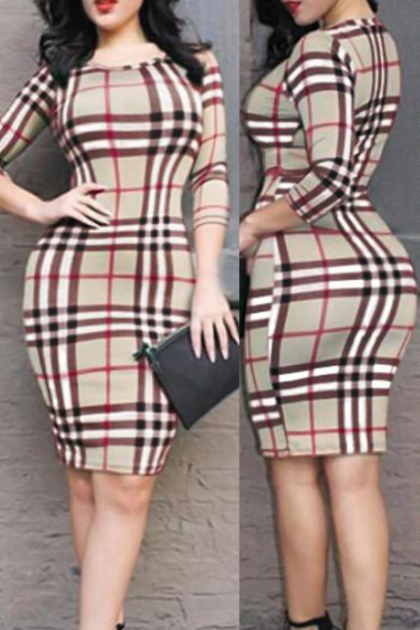 Sexy Round Neck Grid Printed Red Milk Fiber Sheath Knee Length Dress Dresses <br><br>