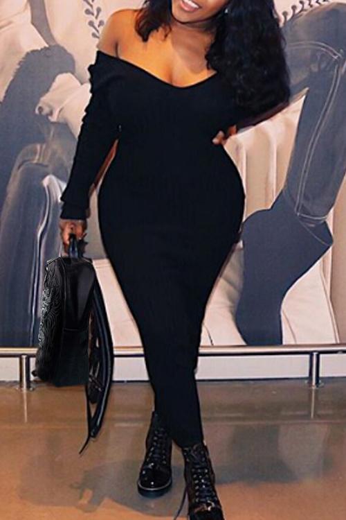 Stylish V Neck Black Cotton Blend Sheath Mid Calf Dress Dresses <br><br>