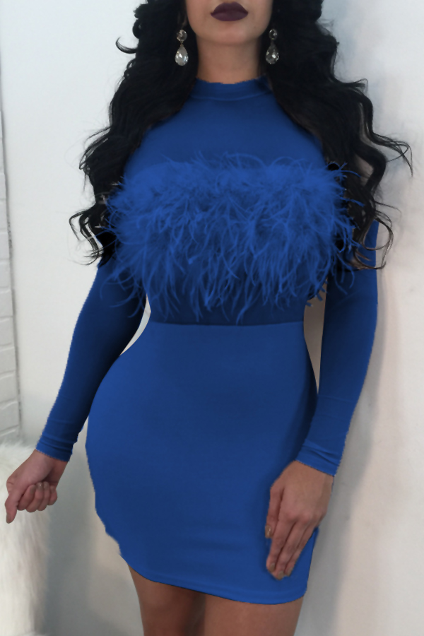 Sexy Round Neck See-Through Blue Polyester Sheath Knee Length Dress Dresses <br><br>