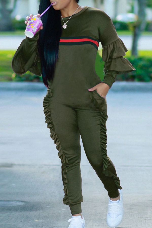 Leisure Round Neck Ruffles Patchwork Army Green Polyester One-piece Jumpsuits<br>
