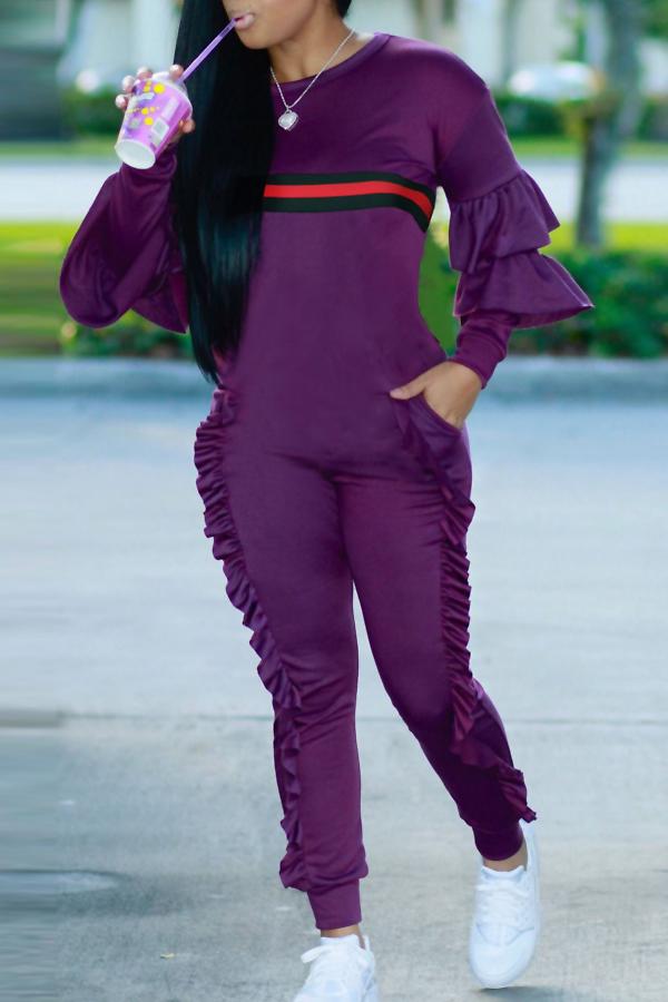 Leisure Round Neck Ruffles Patchwork Purple Polyester One-piece Jumpsuits<br>