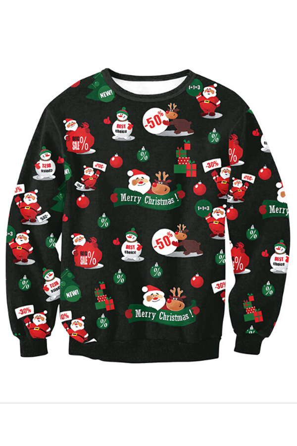 Euramerican Round Neck Christmas Printed Black Polyester Hoodies(Non Positioning Printing)<br>