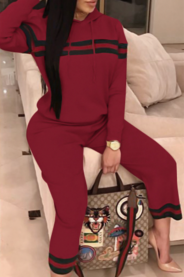 Leisure Hooded Collar Patchwork Wine Red Cotton Two-piece Pants Set<br>