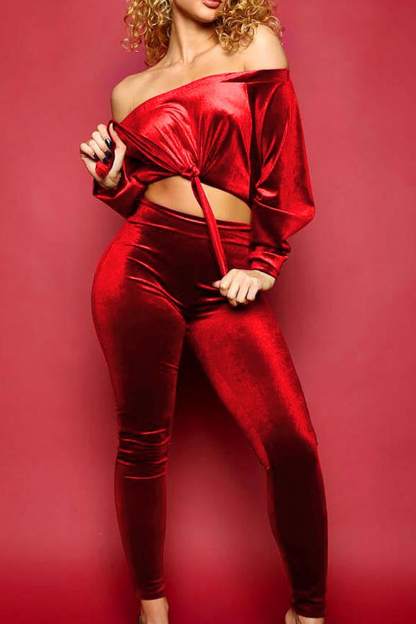 Casual Bateau Neck Knot Design Red Cotton Two-piece Pants Set<br>