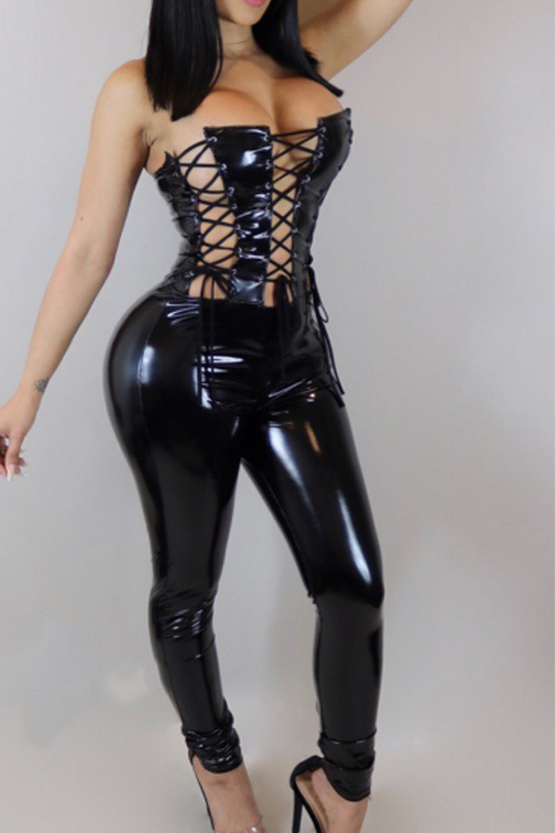 Sexy Strapless Lace-up Hollow-out Black Leather One-piece Jumpsuits<br>