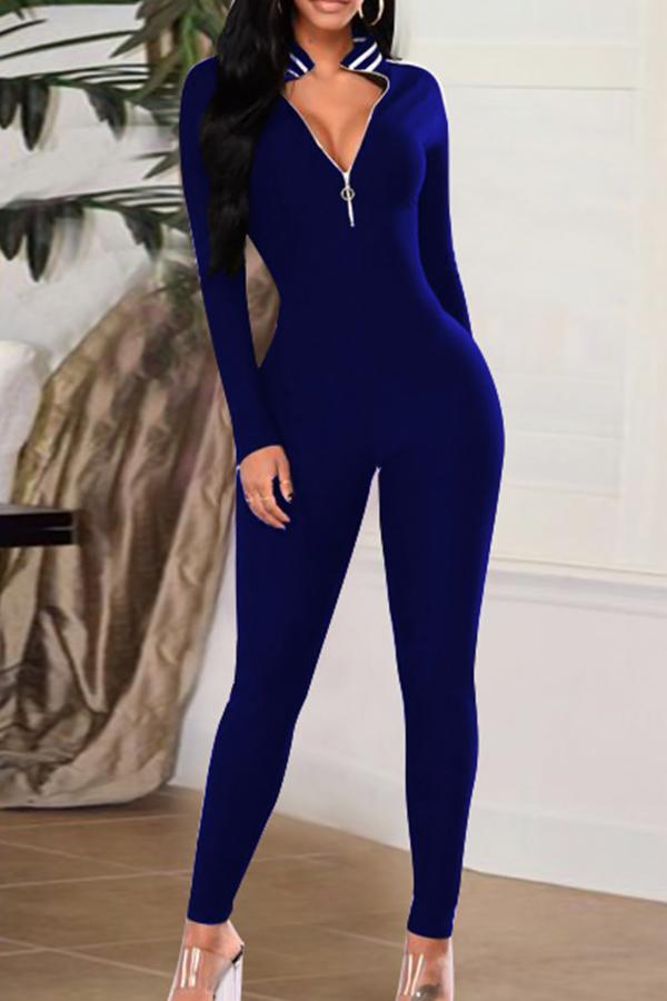 Sexy V Neck Zipper Design Striped Patchwork Royalblue Cotton Blends One-piece Jumpsuits<br>