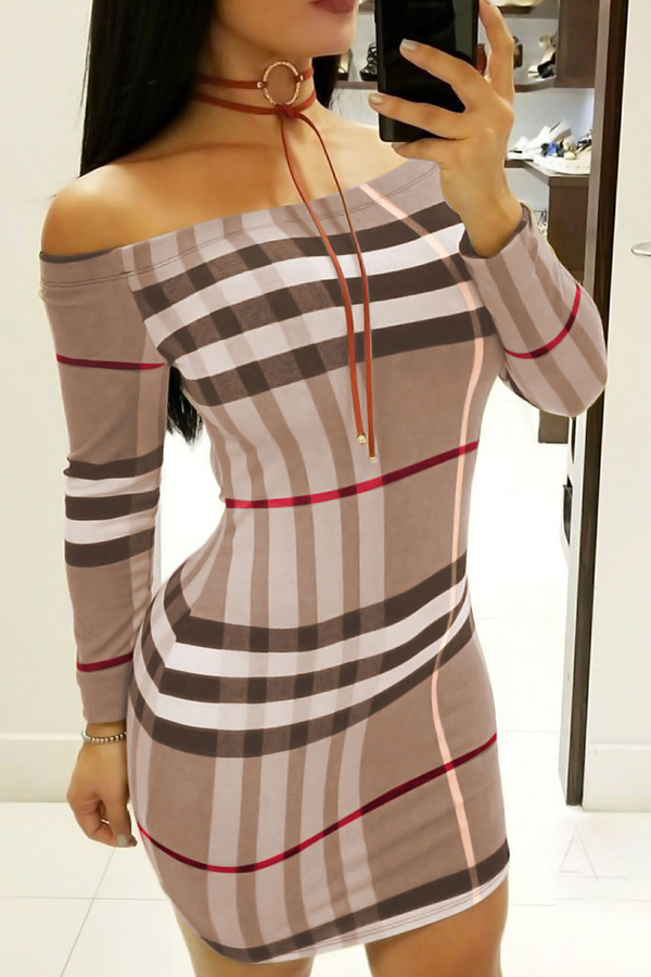 Sexy Bateau Neck Striped Printed Brown Cotton Blend Mini Dress(Without Necklace) Dresses <br><br>