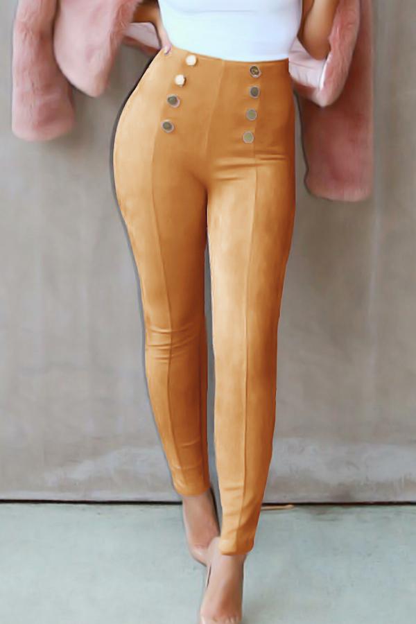 Fashion High Elastic Waist Khaki Polyester Pants<br>