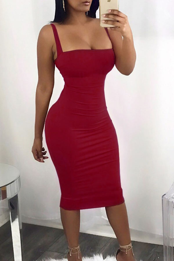 Sexy Square Neck Backless Lace-up Red Polyester Mid Calf Dress Dresses <br><br>
