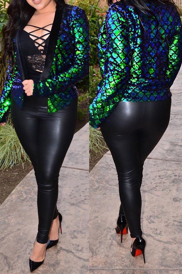 Sexy Mandarin Collar Sequins Decoration Green Polyester Blazer<br>