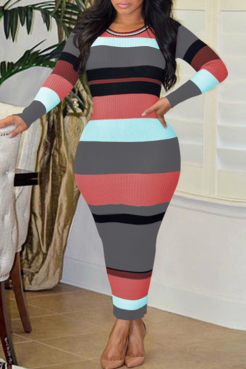 Sexy Round Neck Striped Patchwork Grey Polyester Ankle Length Dress Dresses <br><br>