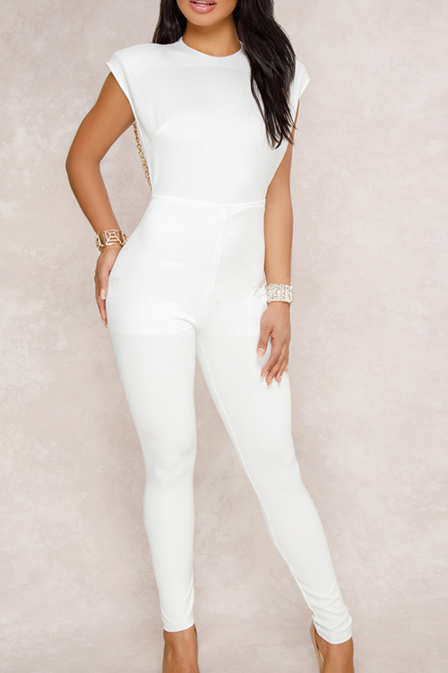 Sexy Round Neck Backless Chain Of Pearls Decoration White Terylene+Cotton One-piece Jumpsuits<br>