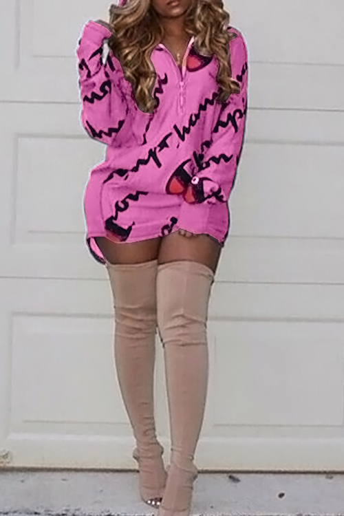 Casual Hooded Collar Letters Printed Pink Polyester Mini Dress Dresses <br><br>