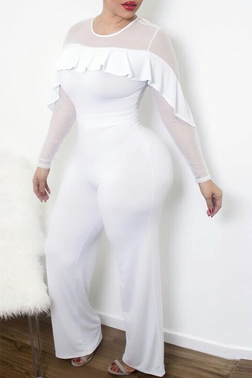 Trendy Round Neck See-Through Ruffle Design White Polyester One-piece Jumpsuits<br>