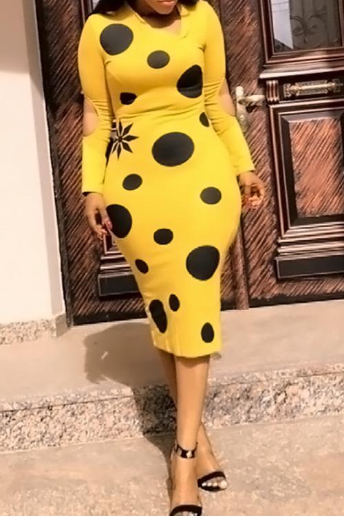 Lovely Fashion V Neck Broken Holes Dot Printed Yellow Cotton Blend Mid Calf Dress Dresses <br><br>
